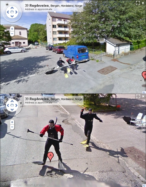 The Google Street View Van Being Chased By Scuba Divers With Mini Pitch Forks
