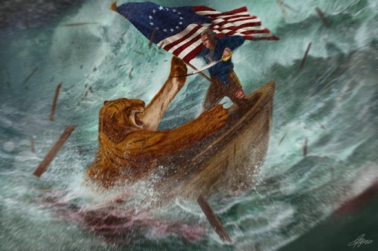 George Washington Fighting a Tiger on a Boat