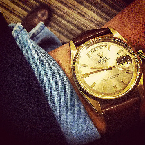 Rolex Day Time With Leather Band
